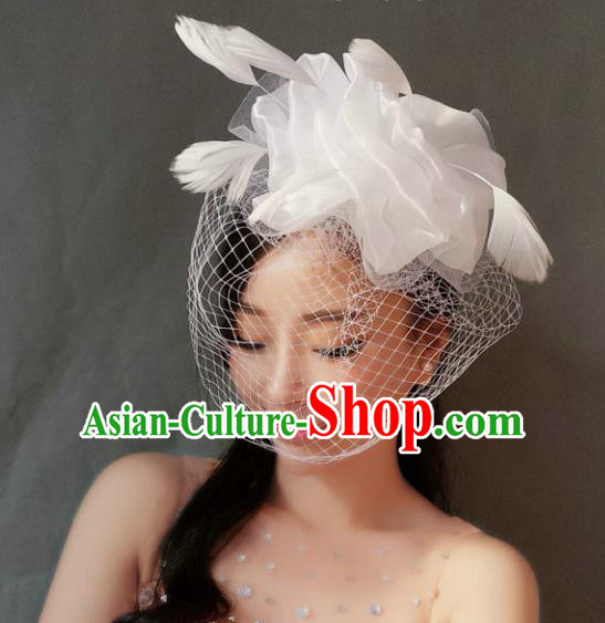 Handmade Baroque Hair Accessories White Veil Mask, Bride Ceremonial Occasions Exaggerate Feather Hair Clasp for Women