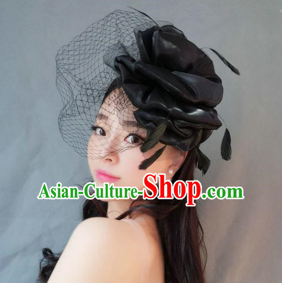 Handmade Baroque Hair Accessories Black Veil Mask, Bride Ceremonial Occasions Exaggerate Feather Hair Clasp for Women