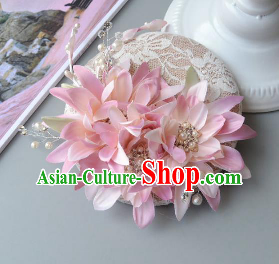 Handmade Baroque Hair Accessories Pink Flowers Headwear, Bride Ceremonial Occasions Top Hat for Kids