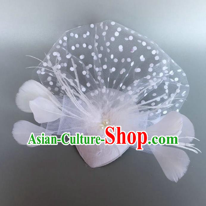 Handmade Baroque Hair Accessories White Feather Headwear, Bride Ceremonial Occasions Top Hat for Kids