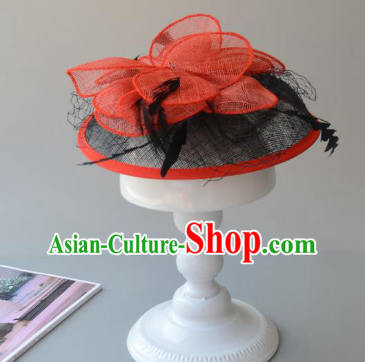 Top Grade Handmade Wedding Hair Accessories Red Veil Headwear, Baroque Style Halloween Flowers Top Hat for Women