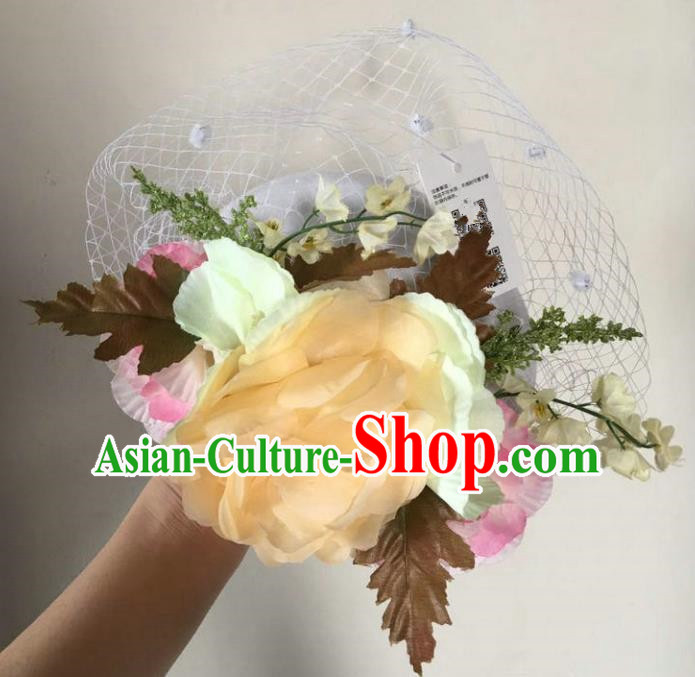 Top Grade Handmade Wedding Hair Accessories Veil Yellow Flowers Headwear, Baroque Style Bride Pearls Top Hat for Women