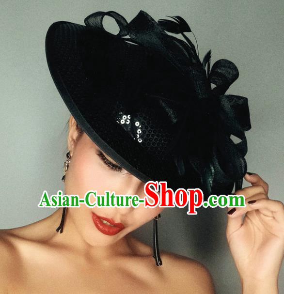 Top Grade Handmade Wedding Hair Accessories Bride Headwear, Baroque Style Black Veil Top Hat for Women
