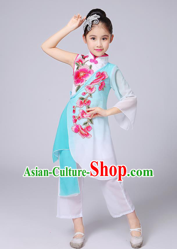 Traditional Chinese Classical Yangge Fan Dance Costume, Children Folk Dance Uniform Yangko Green Embroidery Clothing for Kids