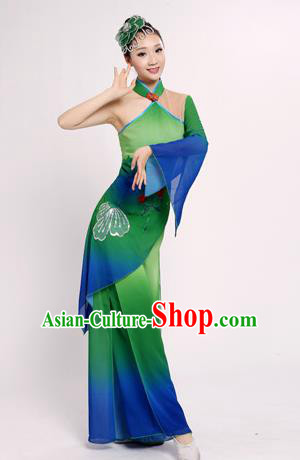 Traditional Chinese Classical Yangge Fan Dance Costume, China Folk Lotus Dance Uniform Yangko Green Clothing for Women