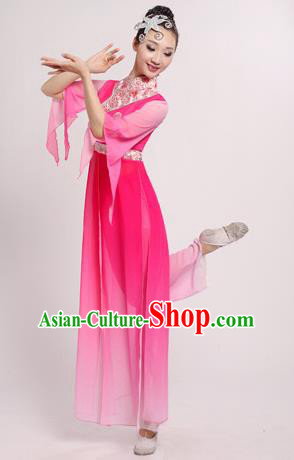 Traditional Chinese Classical Yangge Dance Embroidered Costume, Folk Fan Dance Uniform Classical Dance Pink Clothing for Women
