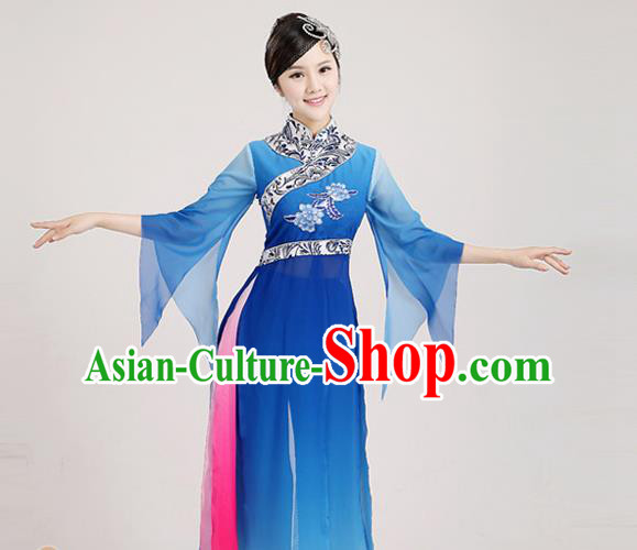 Traditional Chinese Classical Yangge Dance Embroidered Costume, Folk Fan Dance Uniform Classical Dance Blue Clothing for Women