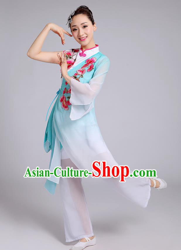 Traditional Chinese Classical Yangge Fan Dance Embroidered Costume, Folk Dance Uniform Classical Dance Green Clothing for Women