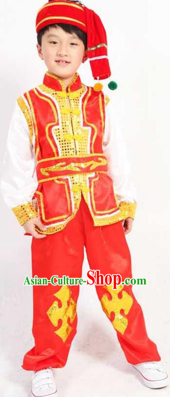 Traditional Chinese Classical Yangge Fan Dance Costume, Dai Nationality Folk Dance Uniform Drum Dance Red Clothing for Kids