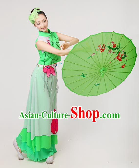 Traditional Chinese Yangge Fan Dance Embroidered Costume, Folk Lotus Dance Uniform Classical Dance Green Clothing for Women