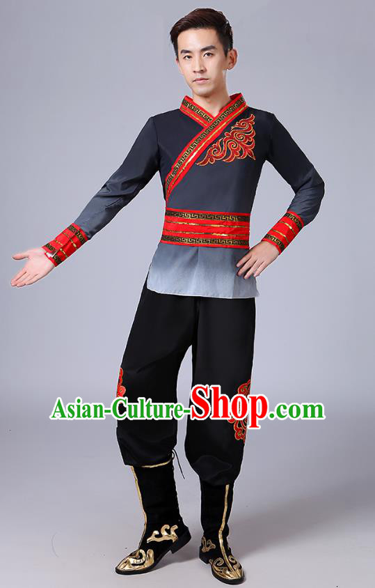Traditional Chinese Classical Yangge Dance Embroidered Costume, Folk Fan Dance Uniform Drum Dance Black Clothing for Men