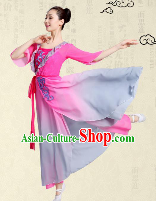 Traditional Chinese Yangge Fan Dance Embroidered Costume, Folk Dance Uniform Classical Dance Pink Dress Clothing for Women