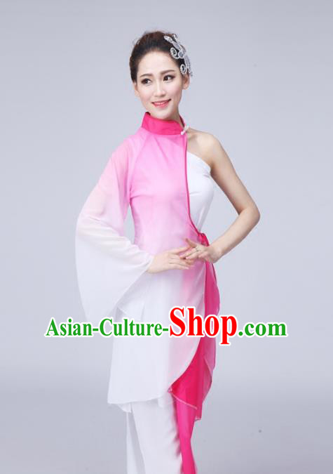 Traditional Chinese Yangge Fan Dance Costume, Folk Dance Uniform Classical Dance Pink Dress Clothing for Women