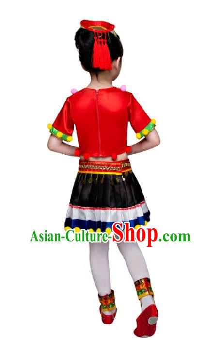 Traditional Chinese Miao Nationality Dance Costume, Children Folk Dance Ethnic Pleated Skirt Embroidery Red Clothing for Kids