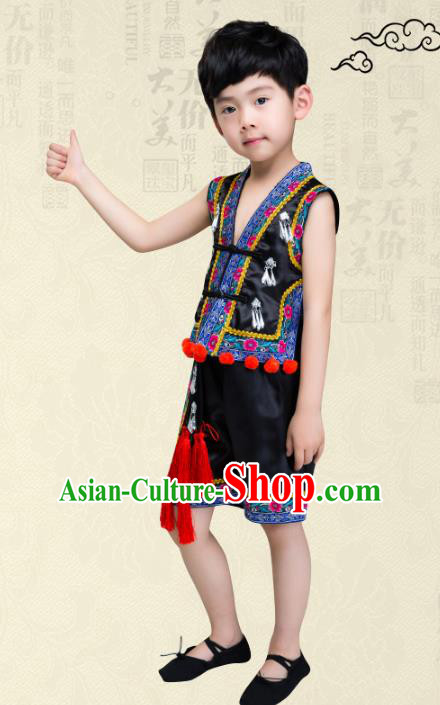 Traditional Chinese Miao Nationality Dance Costume, Children Folk Dance Ethnic Embroidery Black Clothing for Boys