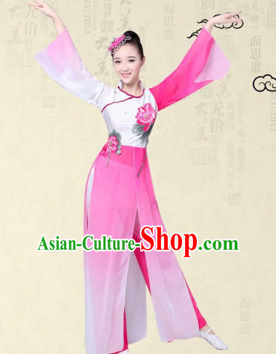 Traditional Chinese Yangge Fan Dance Embroidered Costume, Folk Lotus Dance Uniform Classical Dance Pink Clothing for Women
