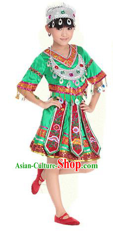 Traditional Chinese Miao Nationality Dance Costume, Hmong Children Folk Dance Ethnic Pleated Skirt Embroidery Green Clothing for Kids