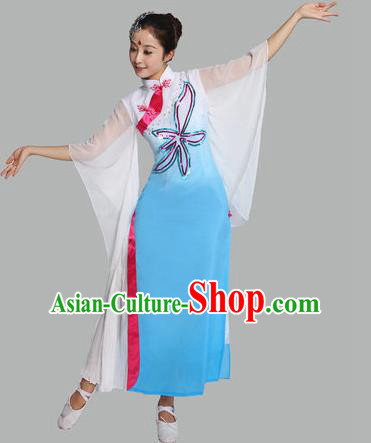 Traditional Chinese Yangge Fan Dance Mandarin Sleeve Costume, Folk Umbrella Dance Uniform Classical Dance Blue Dress Clothing for Women