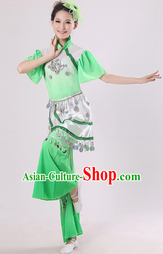 Traditional Chinese Yangge Fan Dance Mandarin Sleeve Costume, Folk Umbrella Dance Green Uniform Classical Dance Clothing for Women