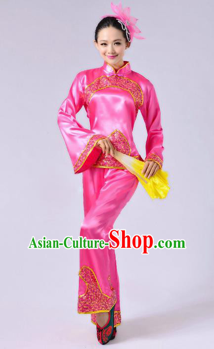 Traditional Chinese Yangge Fan Dance Mandarin Sleeve Satin Costume, Folk Dance Pink Uniform Classical Dance Clothing for Women