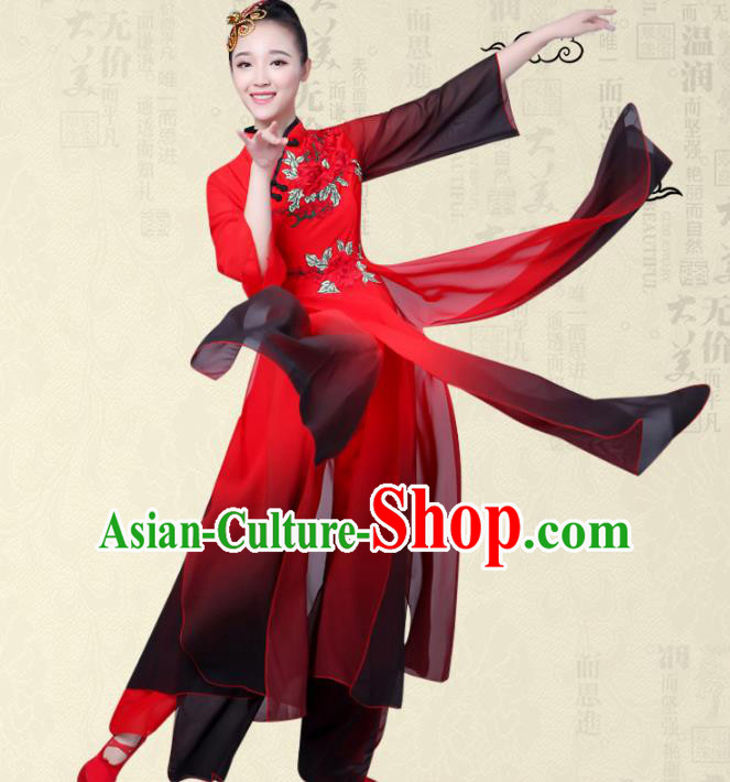 Traditional Chinese Yangge Fan Dance Ink Painting Costume, Folk Dance Orange Uniform Classical Dance Red Clothing for Women
