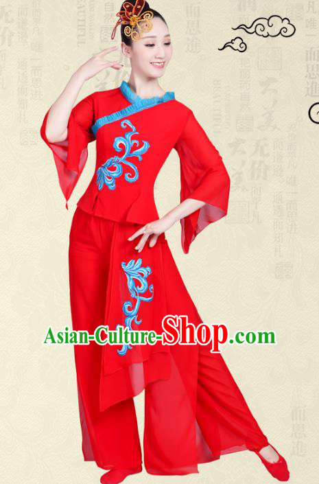 Traditional Chinese Yangge Fan Dance Costume, Folk Umbrella Dance Uniform Classical Dance Red Clothing for Women