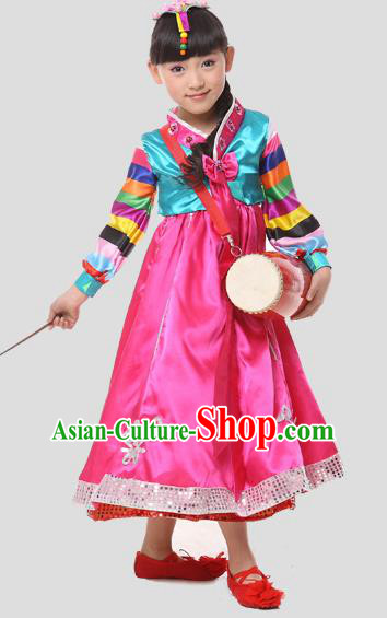 Traditional Chinese Korean Nationality Dance Costume, Children Folk Dance Ethnic Drum Dance Embroidery Pink Dress Clothing for Kids