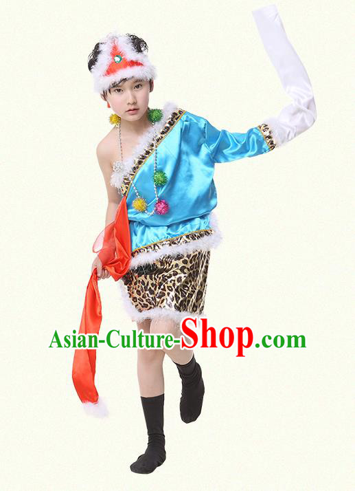 Traditional Chinese Zang Nationality Dance Costume, Children Tibetan Folk Dance Embroidery Blue Clothing for Boys