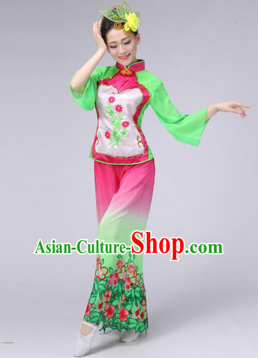 Traditional Chinese Classical Yangge Fan Dance Embroidered Costume, Folk Dance Uniform Umbrella Dance Green Clothing for Women