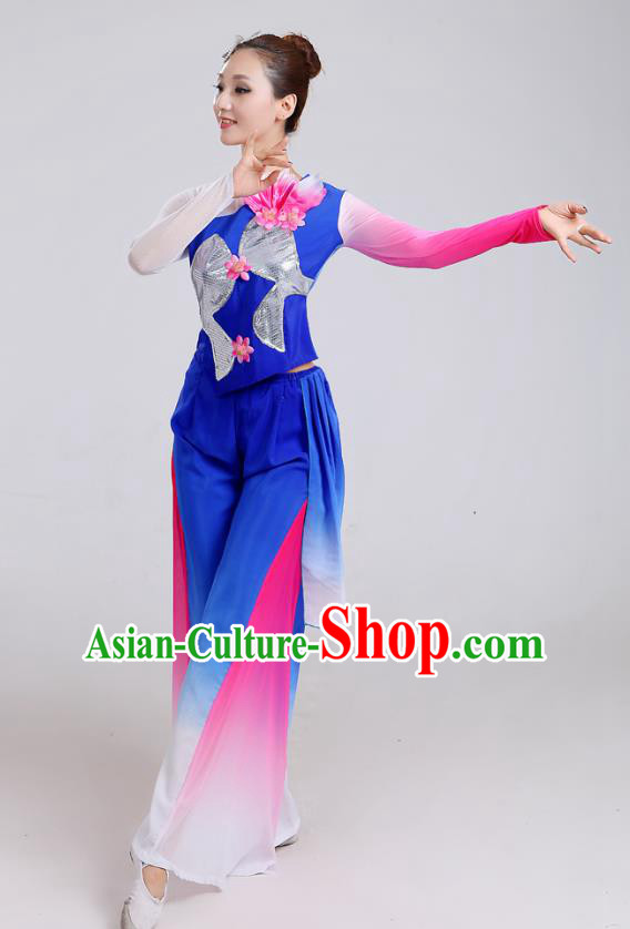 Traditional Chinese Yangge Dance Embroidered Deep Blue Costume, Folk Fan Dance Uniform Classical Umbrella Dance Clothing for Women