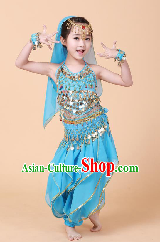 Traditional Chinese Uyghur Nationality Indian Dance Costume, China Uigurian Minority Embroidery Blue Clothing for Kids
