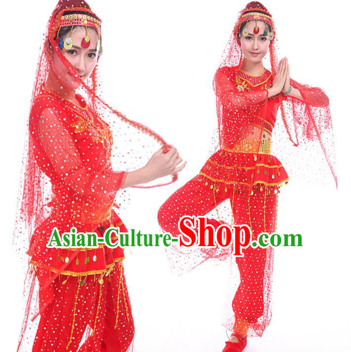 Traditional Chinese Uyghur Nationality Dance Costume, Chinese Minority Nationality Uigurian Dance Red Clothing for Women