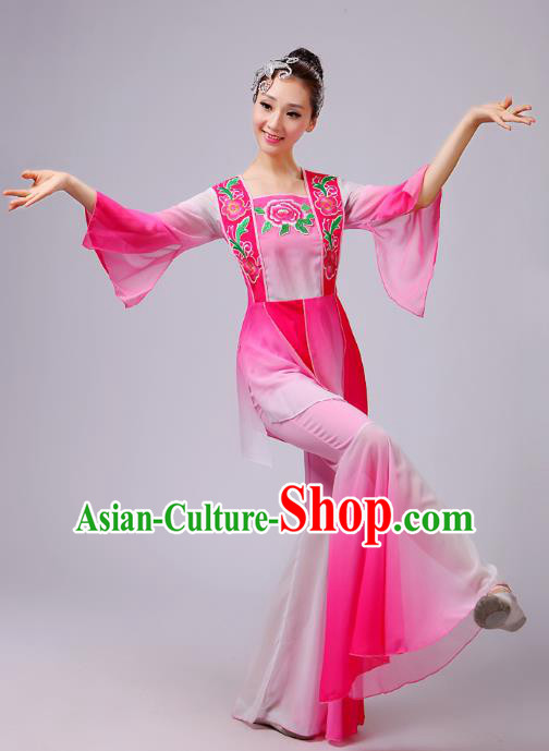 Traditional Chinese Yangge Dance Pink Costume, Folk Lotus Dance Uniform Classical Umbrella Dance Embroidery Clothing for Women