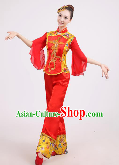 Traditional Chinese Yangge Dance Red Costume, Folk Drum Dance Uniform Classical Dance Embroidery Clothing for Women
