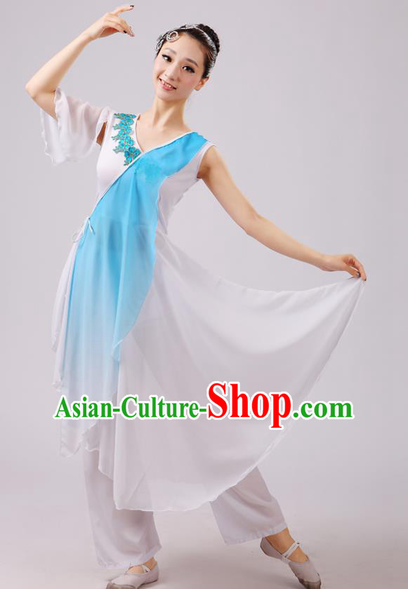 Traditional Chinese Yangge Dance Costume, Folk Fan Dance Blue Uniform Classical Dance Dress Clothing for Women