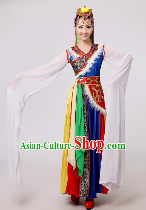 Traditional Chinese Zang Nationality Dance Costume, China Tibetan Minority Embroidery Water Sleeve Dress Clothing for Women