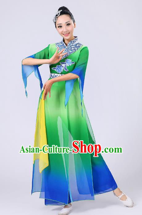 Traditional Chinese Yangge Dance Green Costume, Folk Fan Dance Uniform Classical Umbrella Dance Clothing for Women