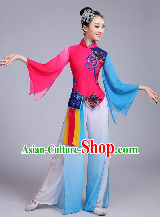 Traditional Chinese Classical Yanko Dance Embroidered Rosy Costume, Folk Yangge Dance Uniform Drum Dance Clothing for Women