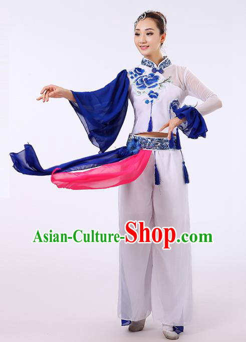 Traditional Chinese Classical Yanko Dance Embroidered Peony Costume, Folk Yangge Fan Dance Uniform Lotus Dance Clothing for Women