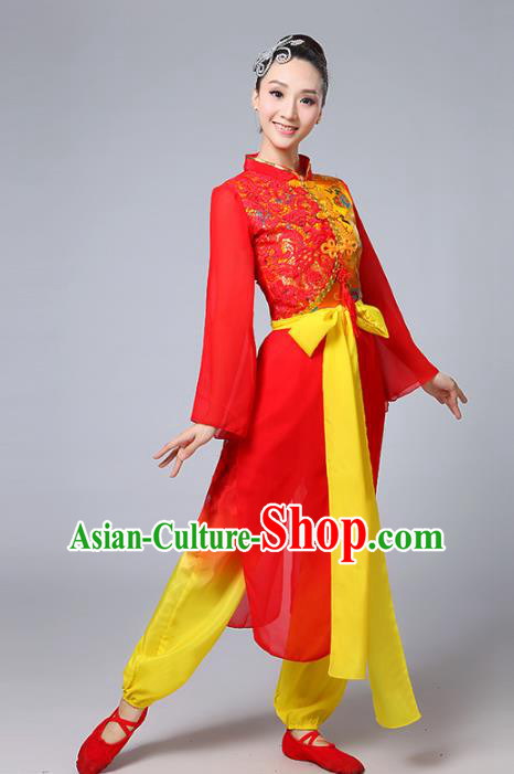 Traditional Chinese Classical Yanko Dance Red Costume, Folk Yangge Fan Dance Uniform Lotus Dance Clothing for Women