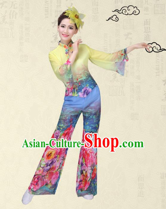 Traditional Chinese Classical Yanko Dance Printing Flowers Costume, Folk Yangge Fan Dance Uniform Waist Drum Dance Yellow Clothing for Women