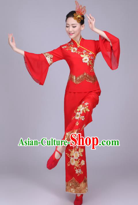 Traditional Chinese Yangge Dance Embroidered Red Costume, Folk Fan Dance Uniform Classical Drum Dance Clothing for Women