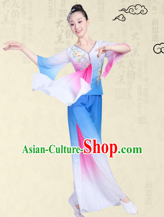 Traditional Chinese Classical Yanko Dance Embroidered Costume, Folk Fan Dance Blue Uniform Umbrella Dance Dress for Women