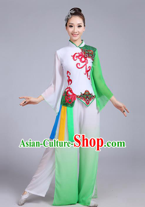 Traditional Chinese Classical Yanko Dance Embroidered Green Costume, Folk Yangge Dance Uniform Drum Dance Clothing for Women
