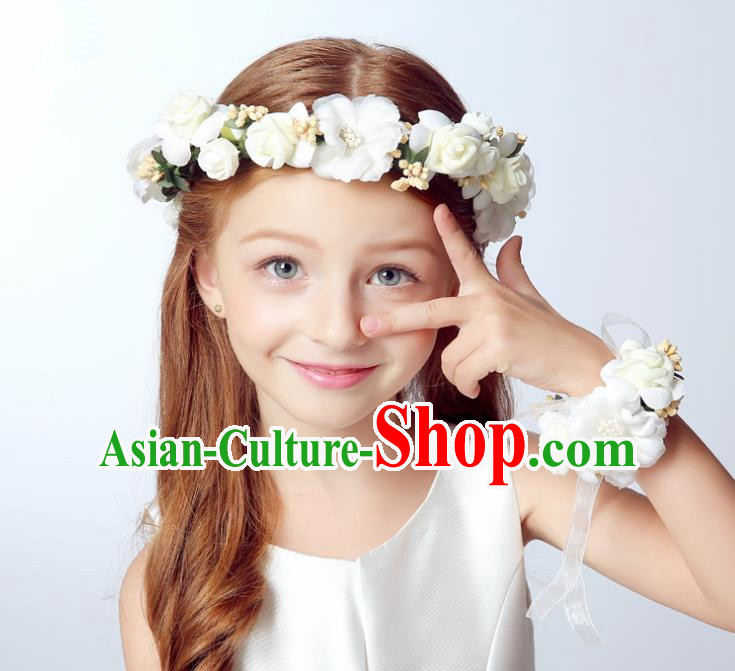 Handmade Children Hair Accessories Princess Headwear Model Show White Flowers Hair Clasp for Kids
