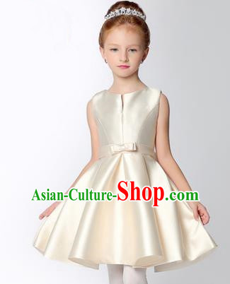 Children Modern Dance Flower Fairy Costume, Performance Model Show Clothing Princess White Short Dress for Girls