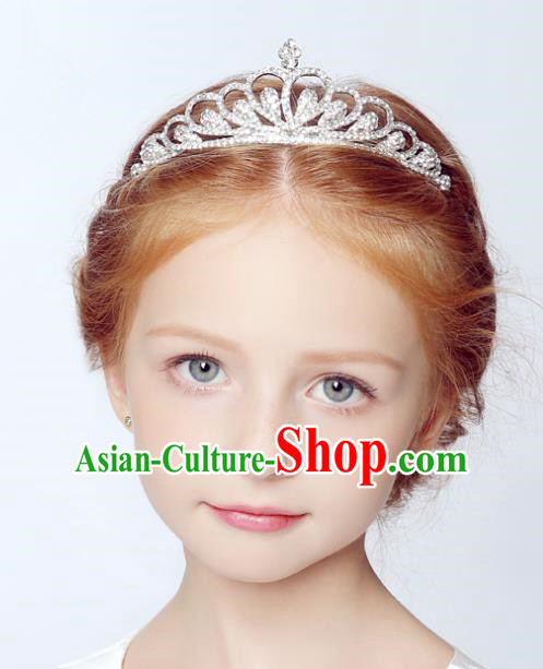 Handmade Children Hair Accessories Crystal Royal Crown, Princess Model Show Headwear Hair Clasp for Kids