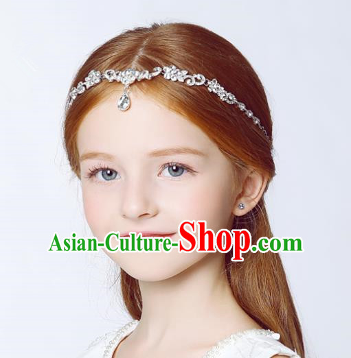 Handmade Children Hair Accessories Crystal Forehead Ornament, Princess Model Show Headwear Hair Clasp for Kids