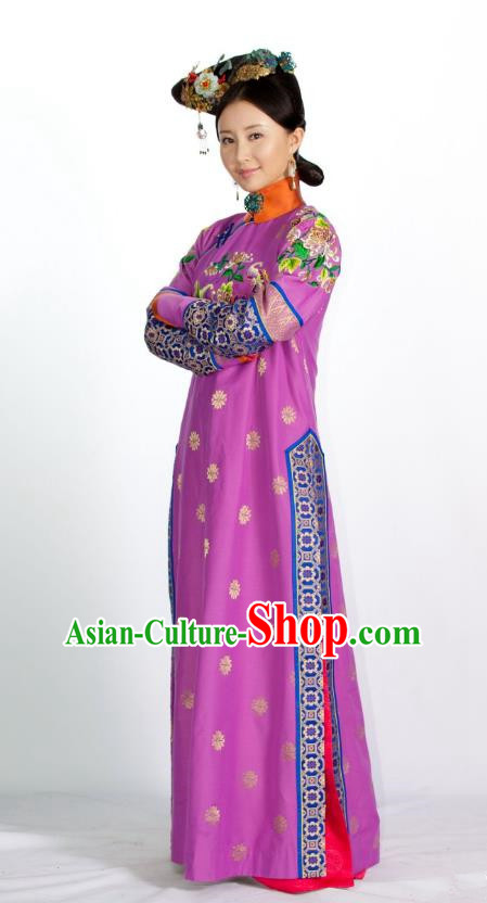 Asian Chinese Qing Dynasty Manchu Imperial Concubine Embroidered Costume and Handmade Headpiece Complete Set