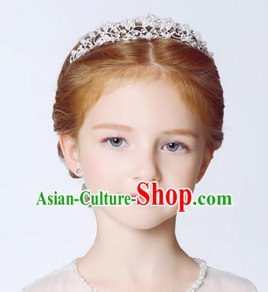 Handmade Children Hair Accessories Crystal Royal Crown, Princess Halloween Model Show Headwear Hair Clasp for Kids
